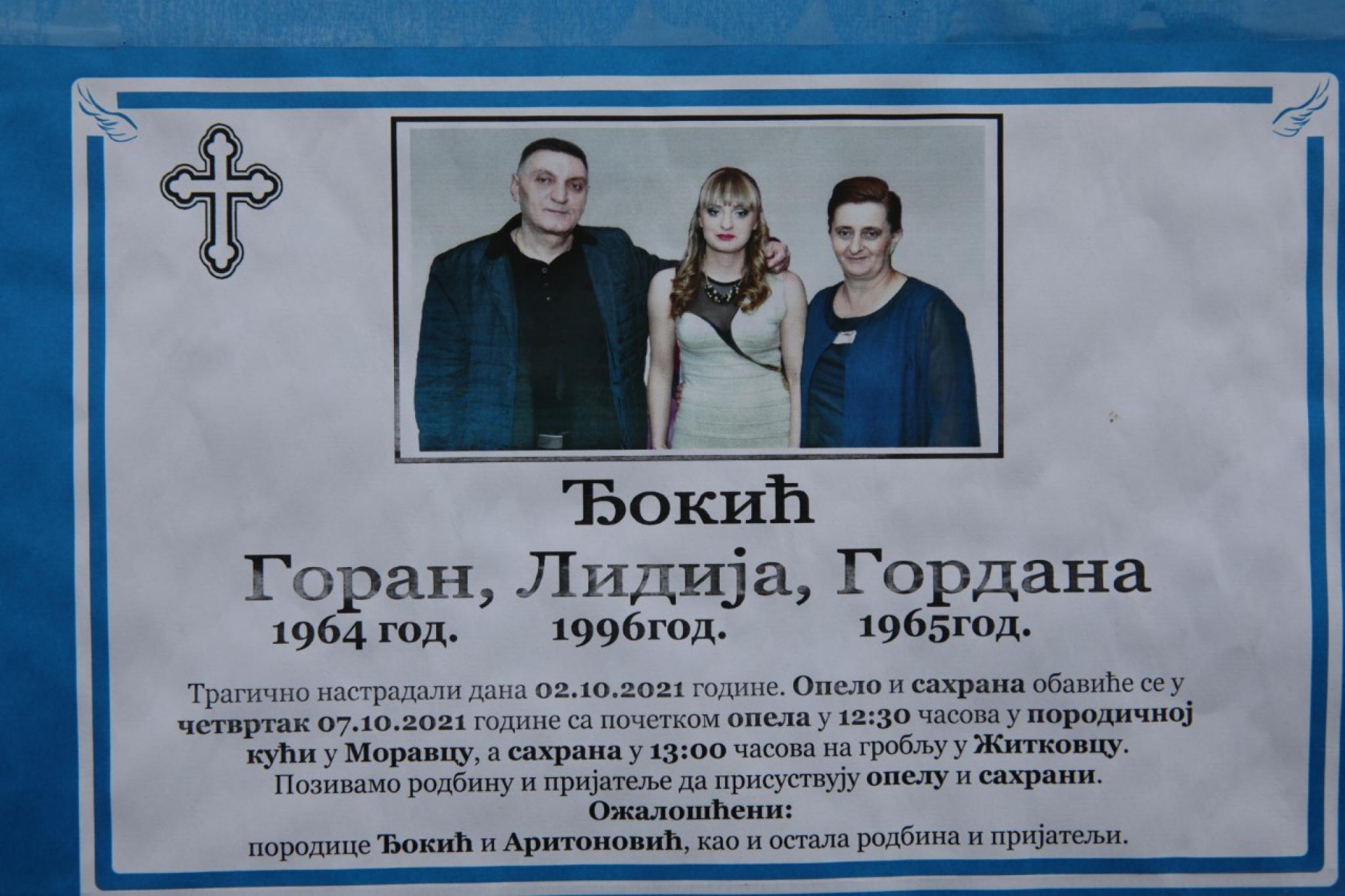 REČI KOJE PREVIŠE BOLE Pogledajte šta piše na čitulji porodice Đokić (FOTO)  - Alo.rs