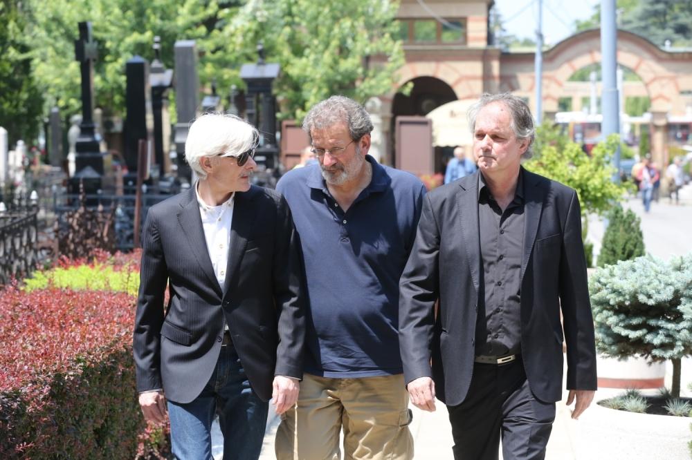 Sahrana Bate Živojinovića / Dragan Petrović, Boda Ninković i Milorad Mandić, Foto: Rajko Ristić
