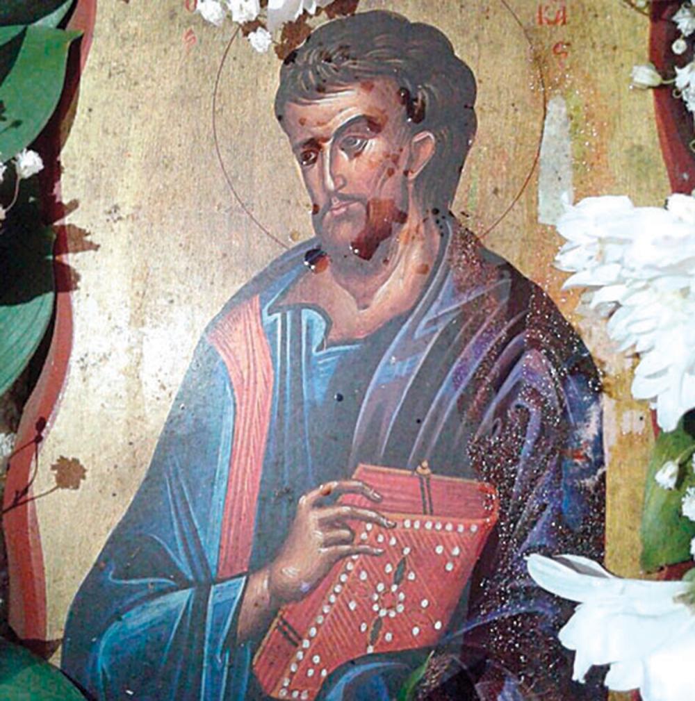 Kapi mirišljave tečnosti  na ikoni Svetog Luke
