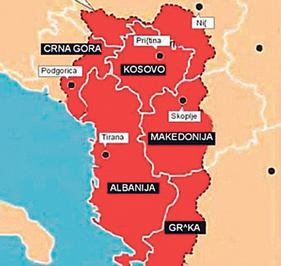 Image result for mapa velike albanije po cia-