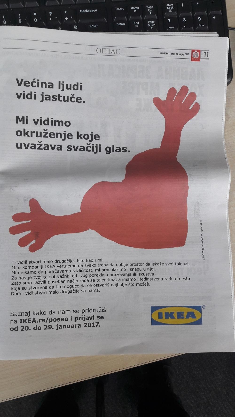 Oglas za posao u Ikei