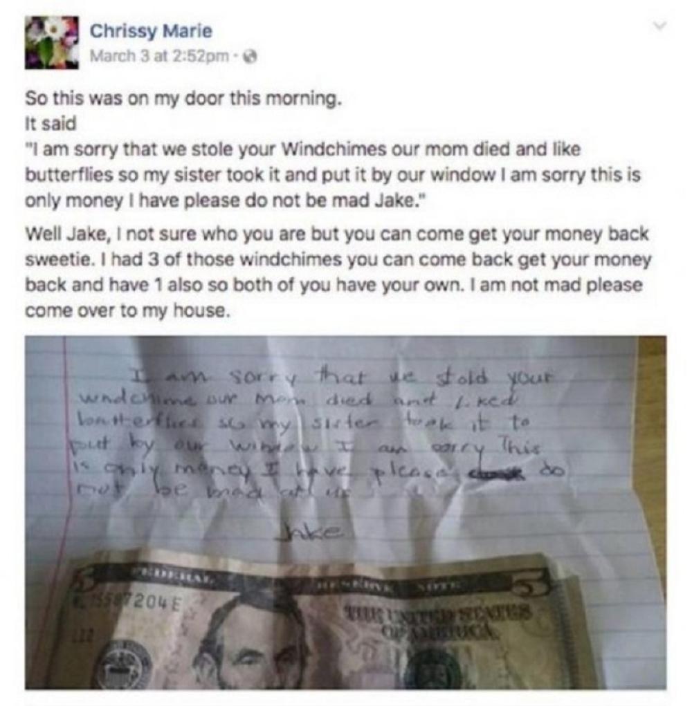 Potresno pismo dečaka koji je ukrao ukras