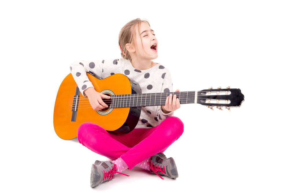 devojčica, gitara, instrument, muzika