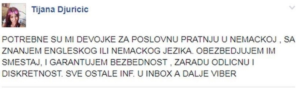 Tijana Đuričić, oglas