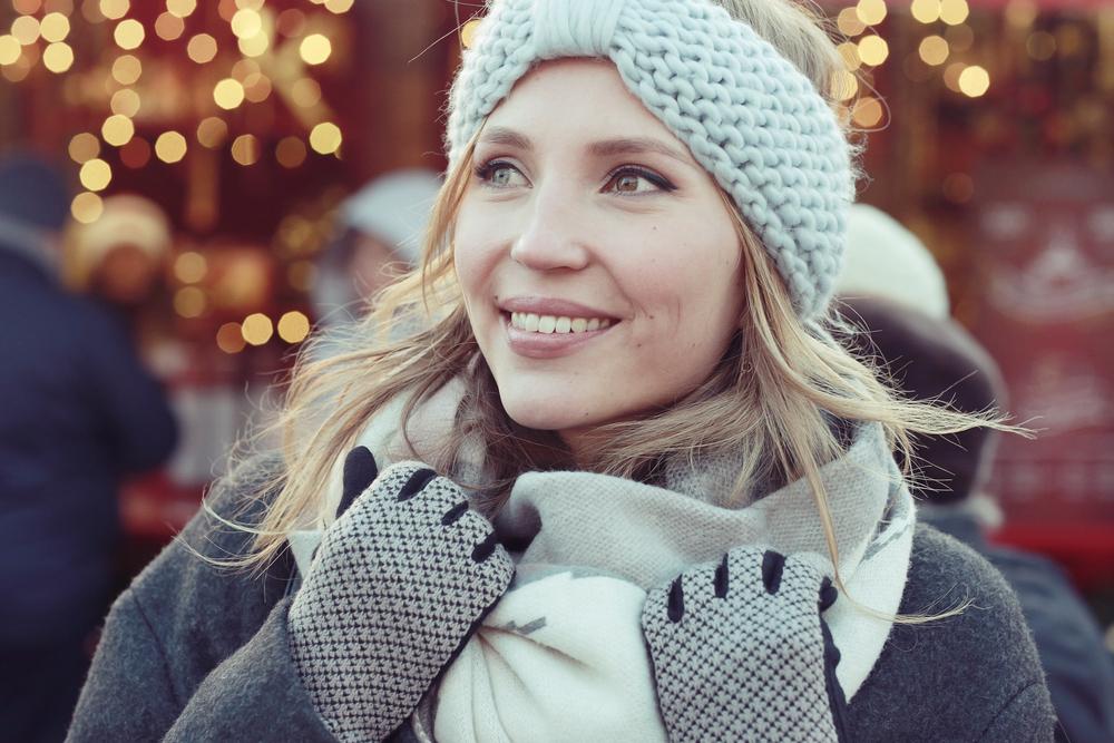 Žena, zima, kapa, moda, sreća, devojka