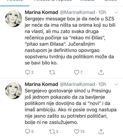 Message from Marina Komad to Sergey Trifunovich