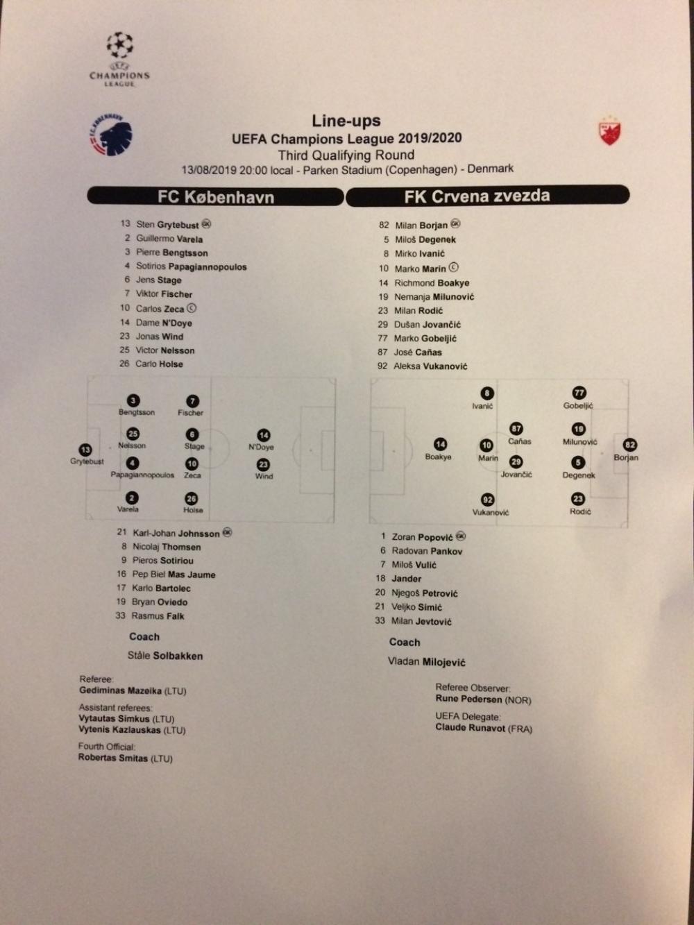 Kopenhagen - Crvena zvezda, sastavi ekipa