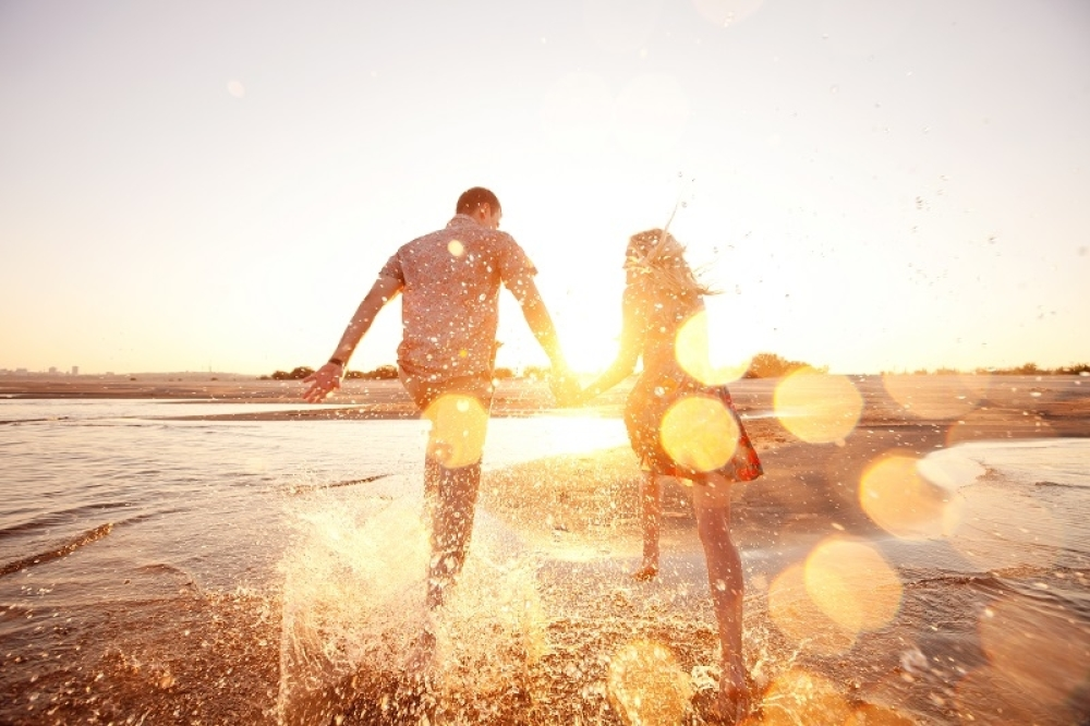 devojka, sreća, par, veza, more