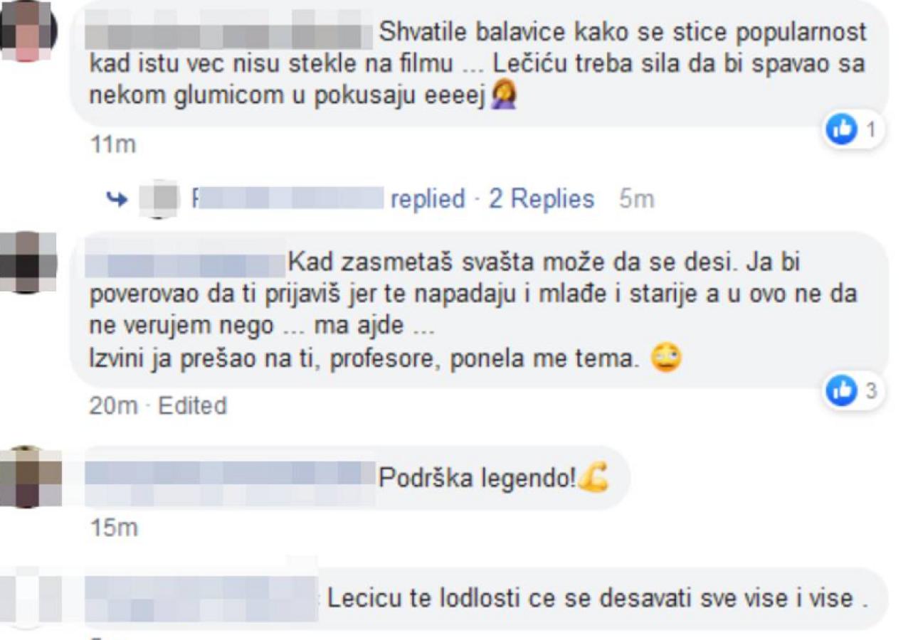 Branislav Lečić, komentari podrške