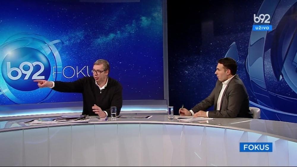 Aleksandar Vučić tokom gostovanja na B92